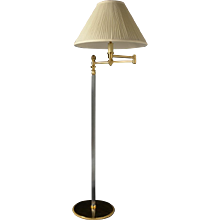 Gunmetal and gilded bronze swing arm floor lamp with fluted shaft
