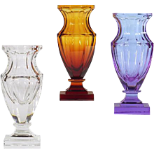 Amber colored crystal vase