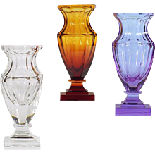 Mauve colored crystal vase