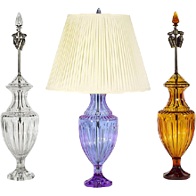 Amber colored crystal table lamp with matching crystal finial