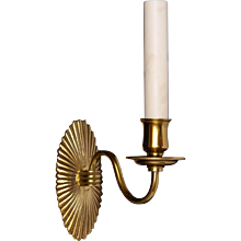 Gilded bronze one light sconce with fluted oval back