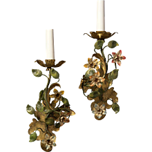 Painted iron one light sconce with flowers, left and right facing
