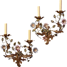 Painted iron two light sconce with flowers, left and right facing