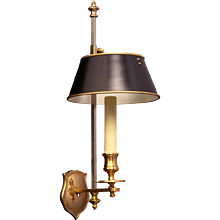 Gilded bronze one light shield back sconce with painted tole shade