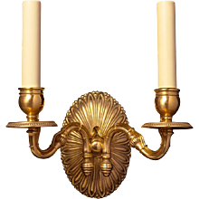 Gilded bronze oval back two light sconce