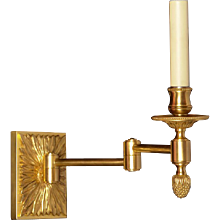 Gilded bronze swing arm one light sconce