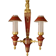 DIRECTOIRE Style gilded bronze and painted tole two light sconce