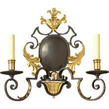 """MONACO"" dark bronze and gilt two light sconce"