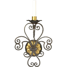 Black and gilt one light sconce with scrolls