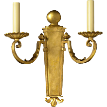 FRENCH PROVINCIAL Style gilded iron two light sconce