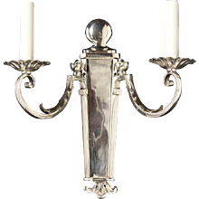 FRENCH PROVINCIAL Style silvered bronze two light sconce