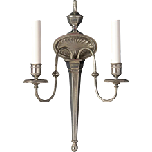 ADAM Style antiqued silvered bronze two light sconce