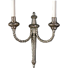 LOUIS XVI Style rope twist silvered bronze two light sconce