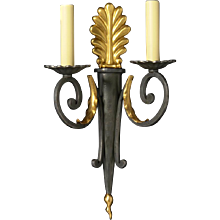 EMPIRE Style black and gilded bronze two light sconce