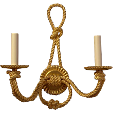"""ROPE"" Motif, gilded bronze two light sconce"