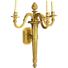 LOUIS XVI gilded bronze three light torch sconce