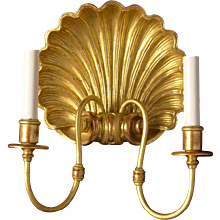 Giltwood and gesso two light shell sconce