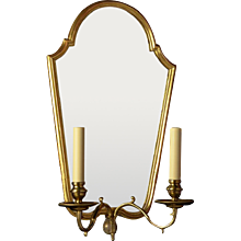 QUEEN ANNE Style giltwood and gesso two light sconce with etched back mirror