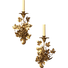 """LEAF"" Motif gilded iron one light left and right facing sconce"