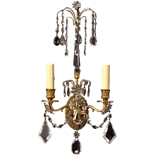 BALTIC Style gilded bronze and crystal two light sconce