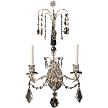 BALTIC Style silvered bronze and crystal two light sconce