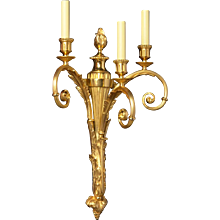 LOUIS XVI Style gilded bronze three light sconce