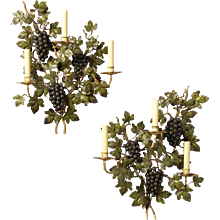 """GRAPE AND VINE"" Motif painted iron three light sconce"