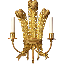 """PRINCE OF WALES FEATHERS"" Motif giltwood gesso two light sconce"