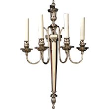 ADAM Style silvered bronze four light sconce