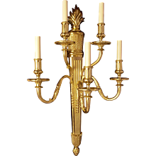 EMPIRE Style gilded bronze five light sconce