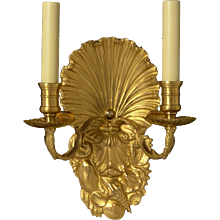 """SHELLS"" Motif gilded bronze two light sconce"