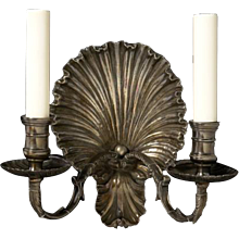 """COQUILLE"" Motif silvered bronze two light sconce"