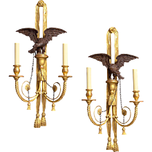 FEDERAL Style giltwood and gesso left and right two light eagle sconce