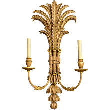 """PALM and BAMBOO"" Motif two light sconce with gilt accents"