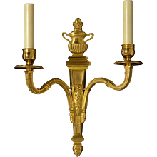 LOUIS XVI Style gilded bronze two light sconce with reeded urn
