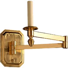 ART DECO Style gilded bronze one light swing arm sconce