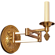 Oval backed gilded bronze swing arm sconce