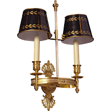 EMPIRE Style gilded bronze two light sconce with painted tole shades