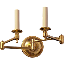 Gilt bronze double swing arm sconce