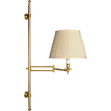 Gilt bronze one light adjustable swing arm wall lamp