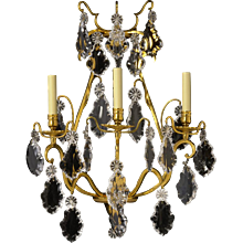 LOUIS XV Style gilded bronze and crystal three light sconce