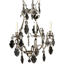 LOUIS XV Style silvered bronze and crystal three light sconce