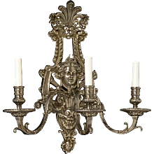 REGENCE Style silvered bronze three light sconce