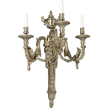 LOUIS XVI Style silvered bronze three light sconce