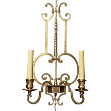 CONTINENTAL Style brass two light sconce