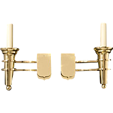 """DELANO"" Art Deco Style Polished Brass Sconces, Pair"