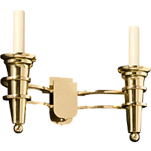 """DELANO"" Art Deco style polished brass two light sconce"