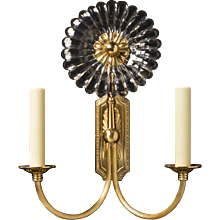 """GERBER"" Gilt bronze and cut crystal two light sconce with ribbed arms"