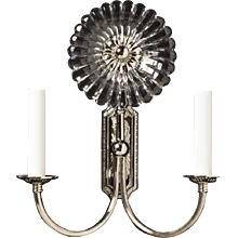 """GERBER"" Nickeled bronze and cut crystal two light sconce with ribbed arms"