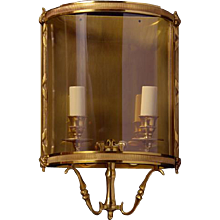 LOUIS XVI Style gilded bronze two light wall lantern